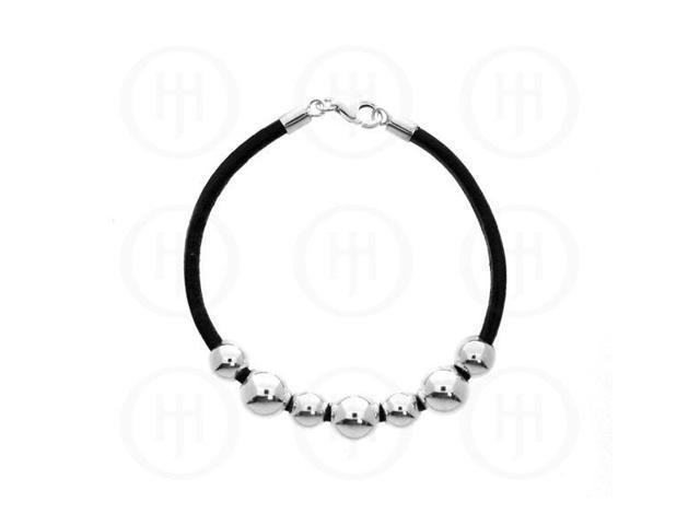 Sterling Silver Leather Bracelet LinksofLondon Inspired