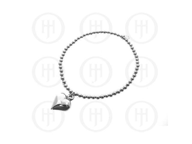 Sterling Silver Rhodium Plated Bracelet Stretchy w/Heart