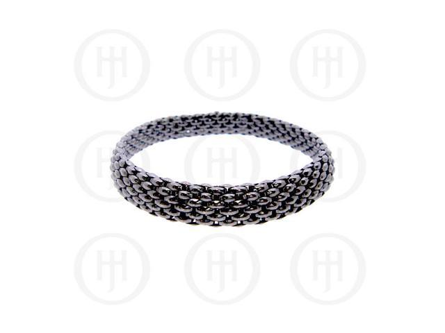 Sterling Silver Tri-Colour Black Flat Stretch Bracelet