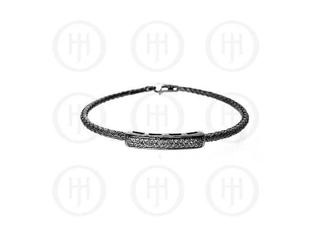 Sterling Silver CZ Rhodium Plated Tri Colour Bangle -  Black