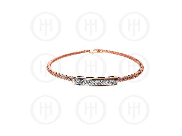 Sterling Silver CZ Rhodium Plated Tri Colour Bangle -  Rose Gold