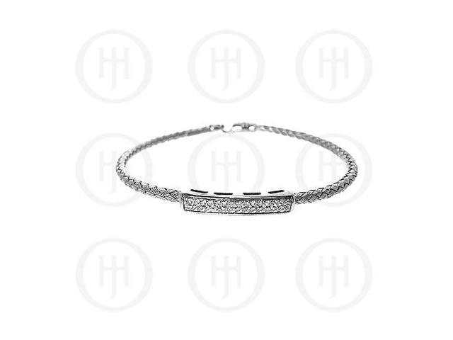 Sterling Silver CZ Rhodium Plated Tri Colour Bangle -  Sterling Silver