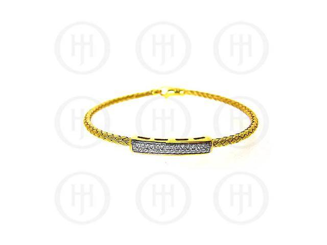 Sterling Silver CZ Rhodium Plated Tri Colour Bangle -  Yellow Gold