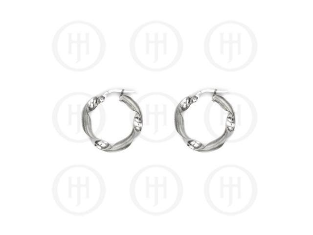 Sterling Silver Fancy Italian Rhodium Plated Hoops 20mm