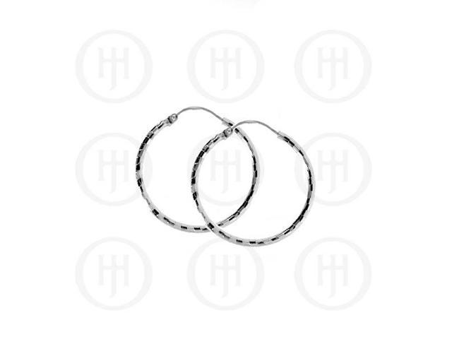 Sterling Silver Fancy Italian Rhodium Plated Hoops 30mm