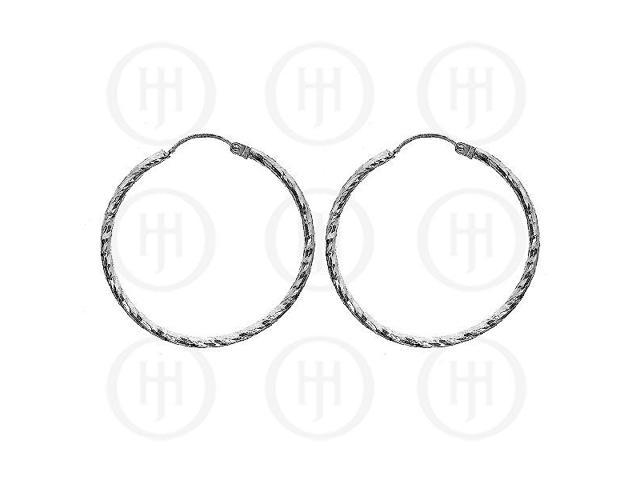 Sterling Silver Fancy Italian Rhodium Plated Hoops 35mm