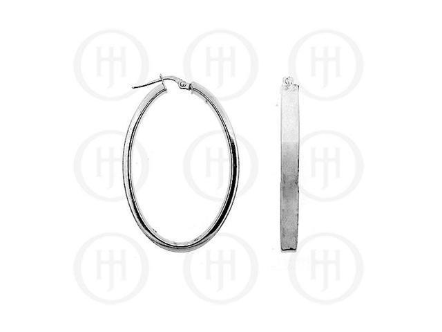 Sterling Silver Fancy Italian Rhodium Plated Hoops 35mm