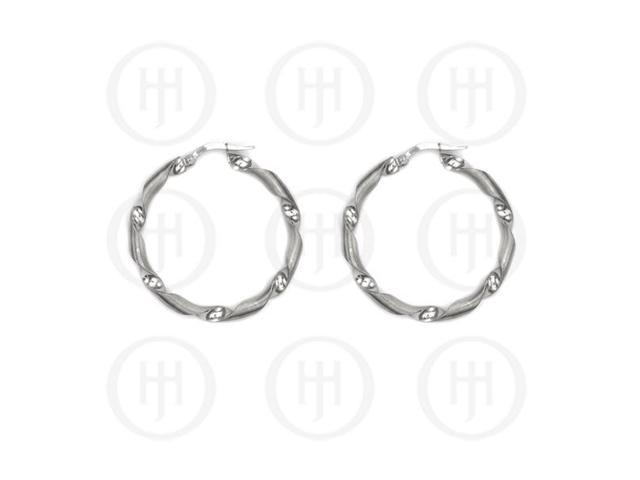Sterling Silver Fancy Italian Rhodium Plated Hoops 40mm