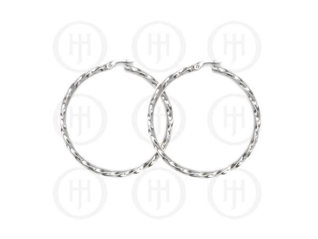 Sterling Silver Fancy Italian Rhodium Plated Hoops 50mm