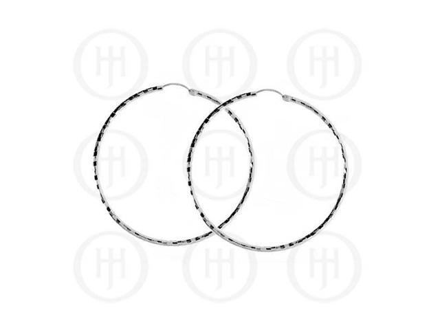 Sterling Silver Fancy Italian Rhodium Plated Hoops 50mm