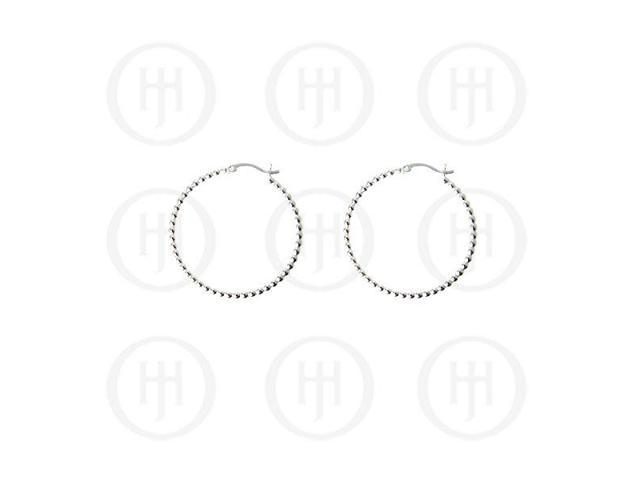 Sterling Sterling Silver Fancy Italian Rhodium Plated Hoop Earrings