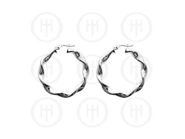 Sterling Silver Fancy Italian Hoops