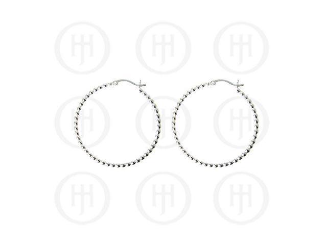 Sterling Sterling Silver Fancy Italian Rhodium Plated Hoop Earrings