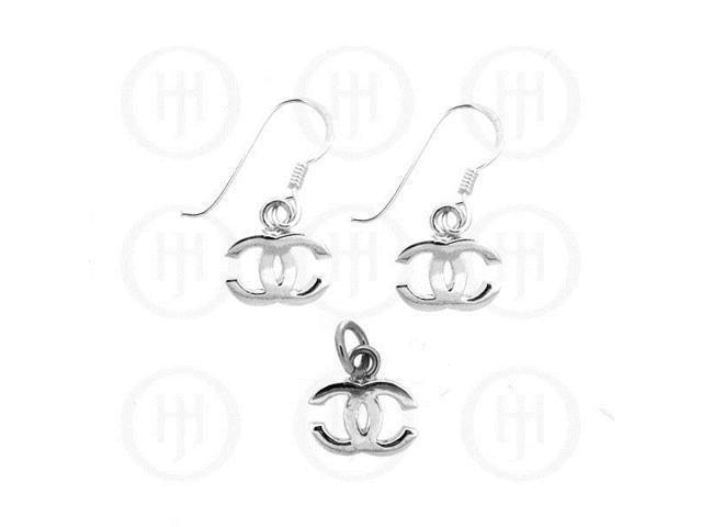 Sterling Silver Dangle Earrings Pendant Set Chanel Inspired