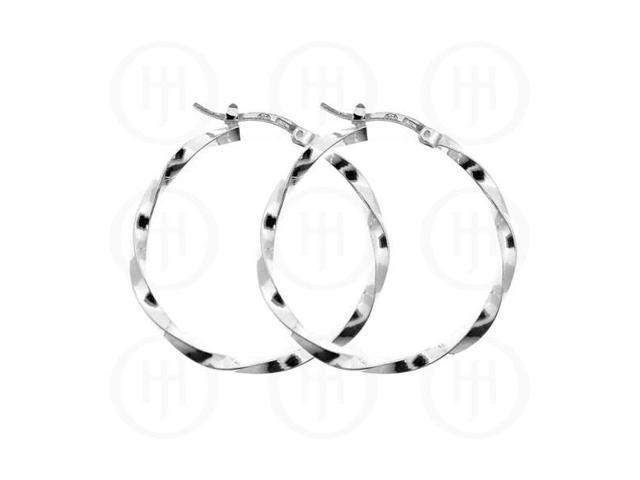 Sterling Silver Fancy Italian Twisted Hoop 35mm
