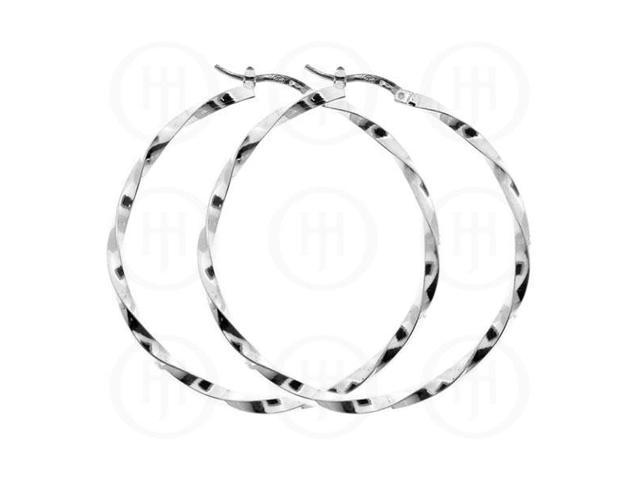 Sterling Silver Fancy Italian Twisted Hoop 45mm