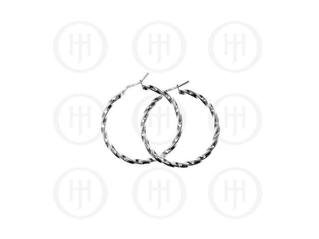Sterling Silver Fancy Italian Twisted Hoops 35mm