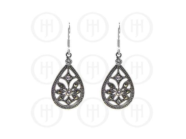 Sterling Silver Marcasite Earrings w/ CZ Crystals