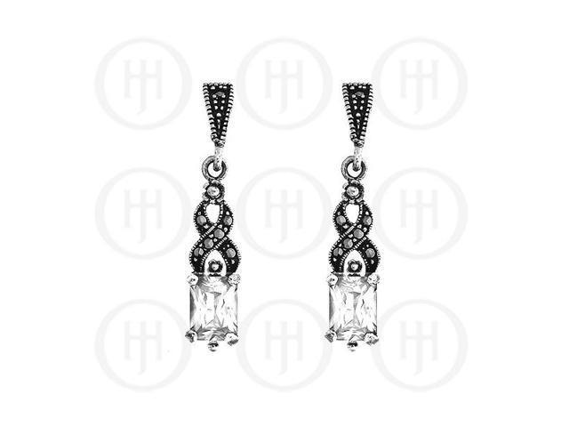 Sterling Silver Marcasite Earrings White