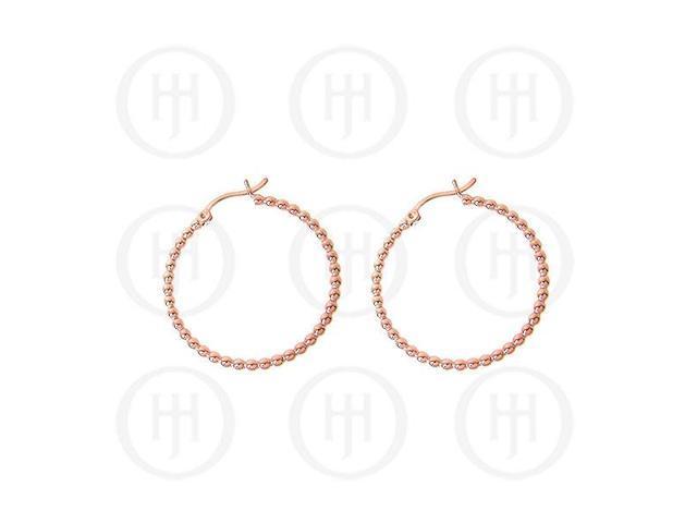 Sterling Sterling Silver Fancy Italian Rose Colour Plated Hoop Earrings