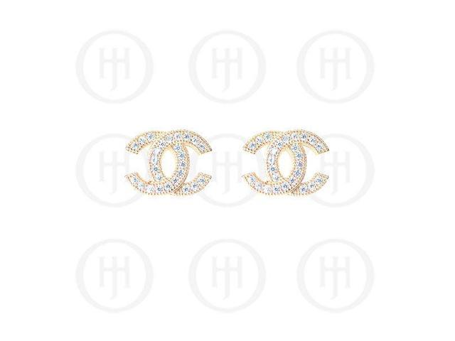 Sterling Silver Rose Colour Plated Assorted CZ Chanel Inspired Stud Earrings