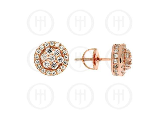 Sterling Silver Round CZ Stud Rose Colour Earrings