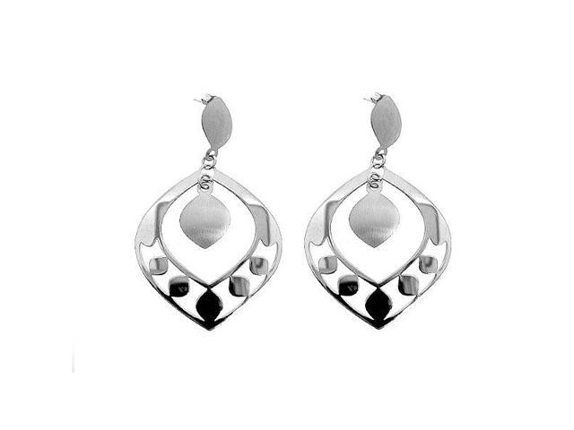 Sterling Silver Fancy Italian Rhodium Plated Earrings