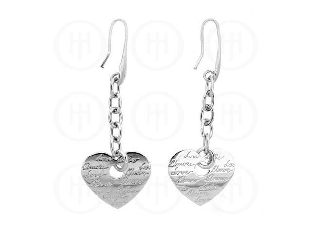 Sterling Silver Inspirational Rhodium Plated Love Earrings