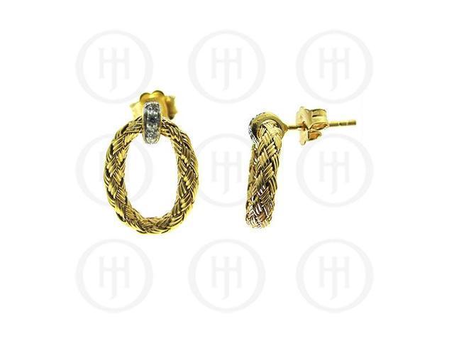 Sterling Silver Rhodium Plated Braided Earring -  w/ mini Swarvoski Crystals