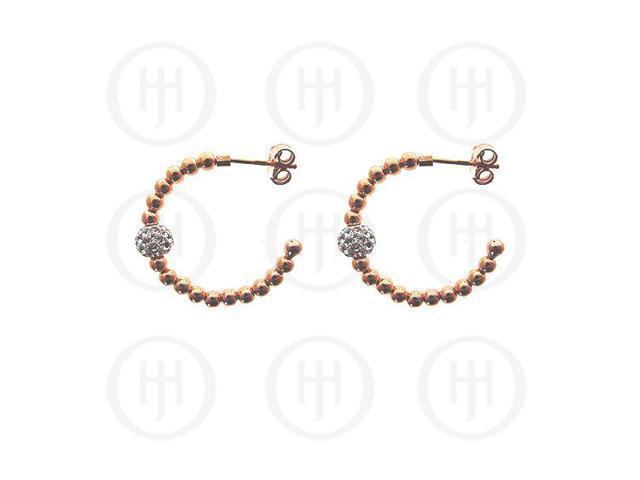 Sterling Silver Rhodium Plated Earring -  Rose w/ Swarvoski Ball