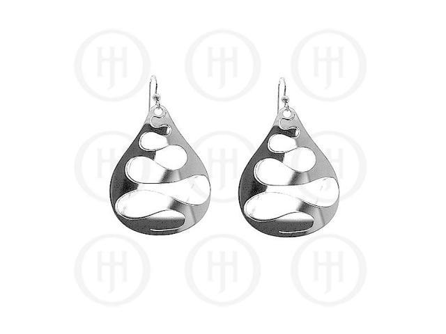 Sterling Silver Rhodium Plated Double Finish Dangle Earrings