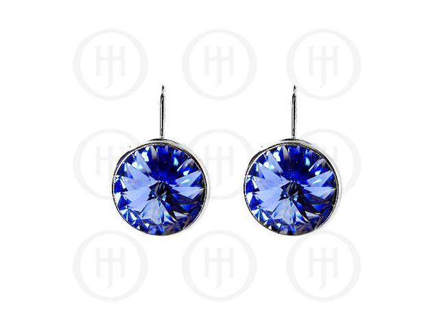 Sterling Silver Rhodium Plated Gem 14mm Earring
