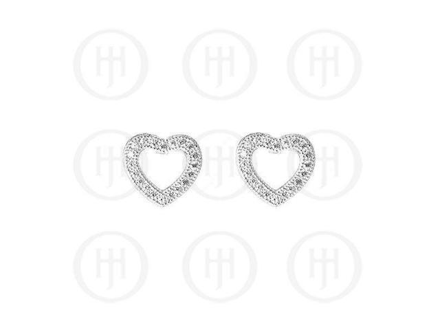 Sterling Sterling Silver Rhodium Plated Assorted CZ Cutout Heart Stud Earrings