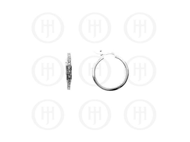Sterling Silver CZ Hoop 22mm