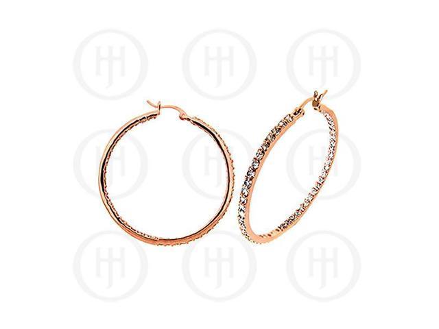 Sterling Silver Rose Hoops CZ Earrings 40mm
