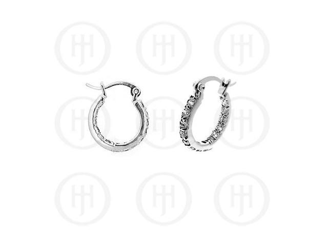 Sterling Silver Double sided CZ 15mm Hoop