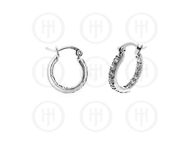 Sterling Silver Double sided CZ 20mm Hoop