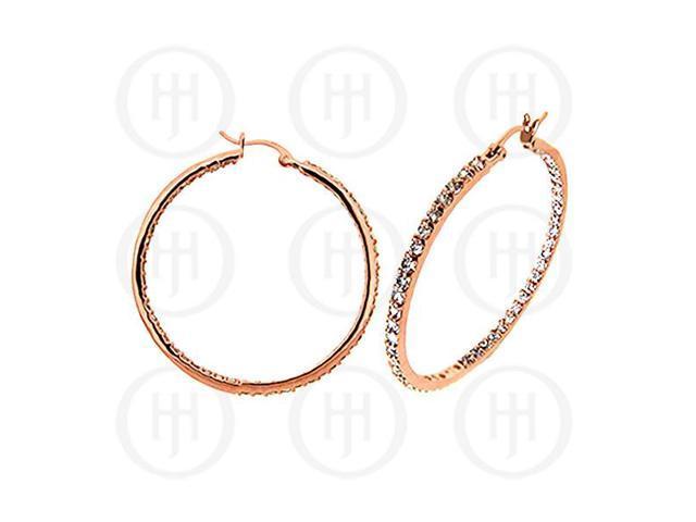 Sterling Silver Rose Hoops CZ Earrings 50mm