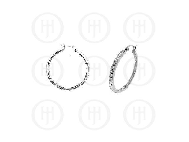 Sterling Silver Double sided CZ 25mm Hoop