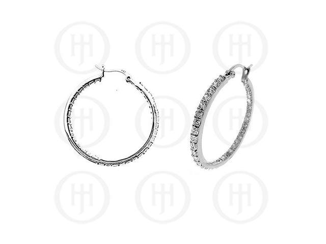 Sterling Silver Double sided CZ 30mm Hoop