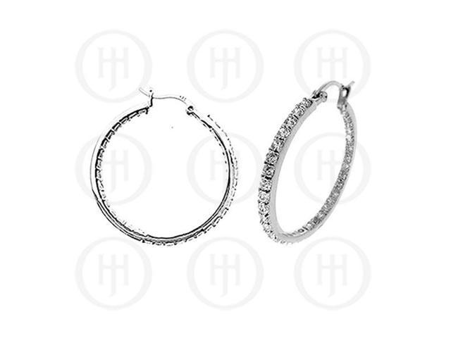 Sterling Silver Double sided CZ 40mm Hoop