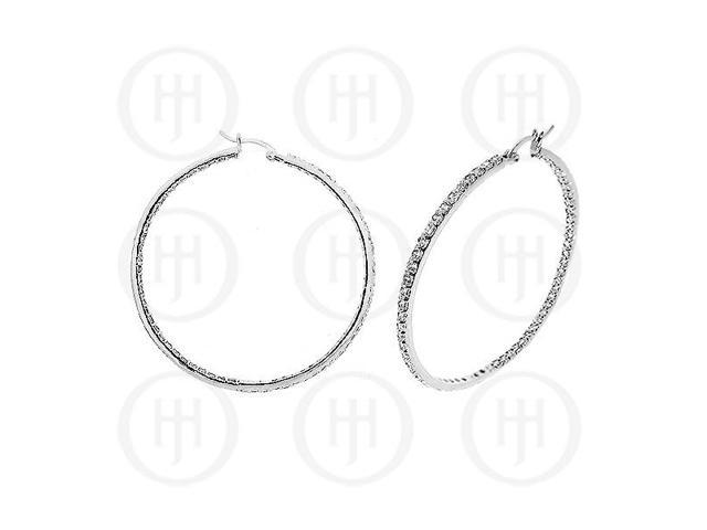 Sterling Silver Double sided CZ 60mm Hoop