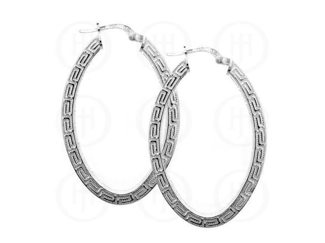Sterling Silver Fancy Italian Greek Key Hoops