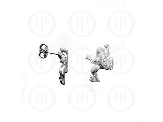 Sterling Silver Stud D/C Frog Earrings