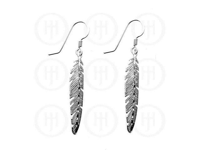 Sterling Silver Dangle D/C Feather Earrings