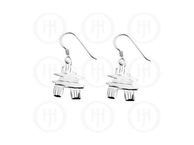 Sterling Silver Dangle Earrings Canadian Inukchuk
