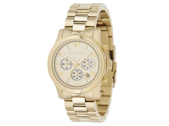 Michael Kors MK5166 Womens Gold Tone Link Bracelet Crystals Quartz Chronograph Watch
