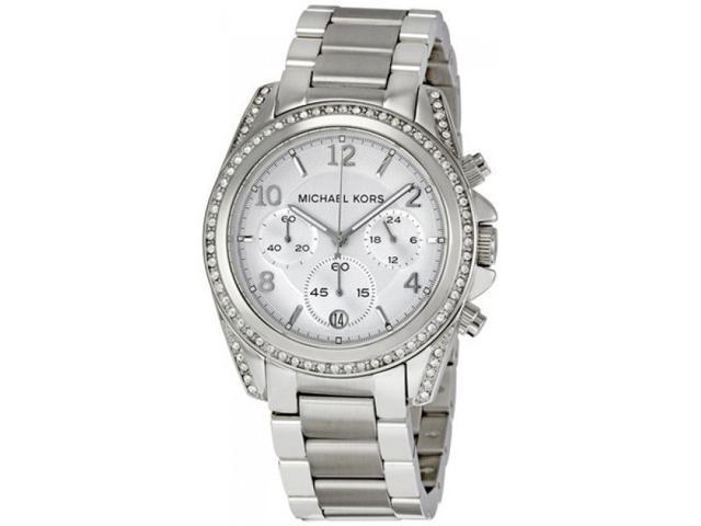 Michael Kors MK5165 Womens Stainless Steel Blair Quartz Silver Dial Chronograph Watch