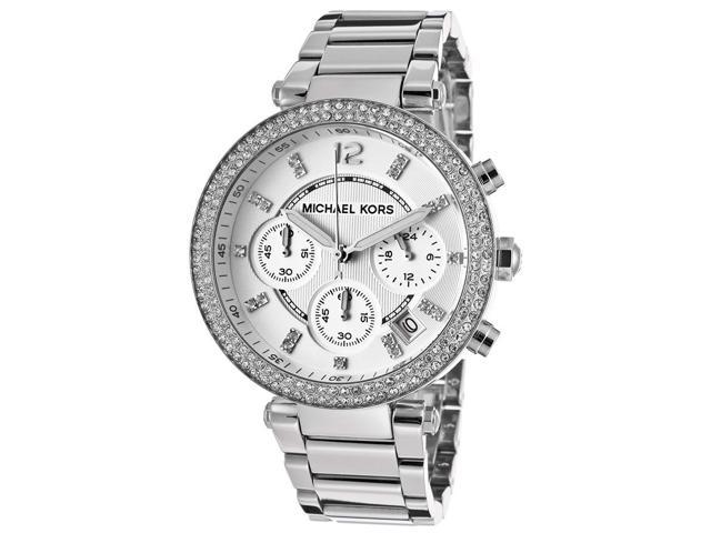Michael Kors MK5353 Womens Stainless Steel Case and Bracelet Chronograph Silver Tone Dial Watch