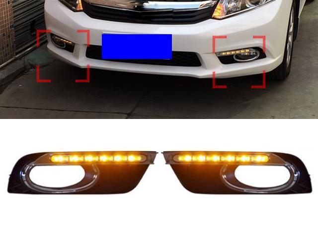 DUrable Brand New 2 Pcs Kit/Set 6 LED Good Quality OEM DRL Car Fog Driving Light Daytime Running Lights For HONDA CIVIC Ninth Generation 9th 2011 2012 2013 2014 Color Amber/Yellow With Turnning Signal